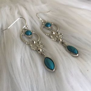 Silver Plated Dangling Turquoise Earrings